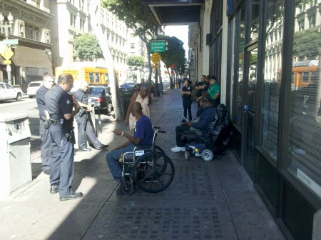 At least 7 cops respond to 3 men in wheelchairs who committed no crime