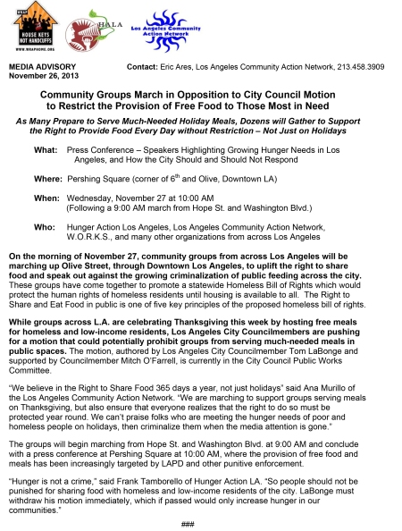 Microsoft Word - Media Advisory - Community Organizations March